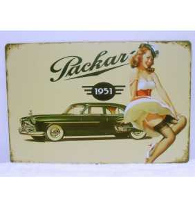 "Plaque murale en métal pin-up ""Packard pin-up"""