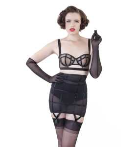 "Porte-jarretelles cage gaine taille haute noir Bettie Page ""Fetish Bettie"""