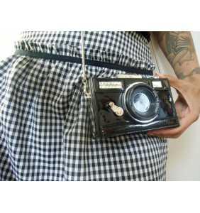 """Sac à main minaudière en forme d'appareil photos vintage """"Cheeeese"""""""