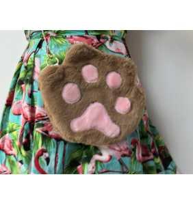 """Sac à main patte de chat marron en peluche """"Brown cat paw"""""""