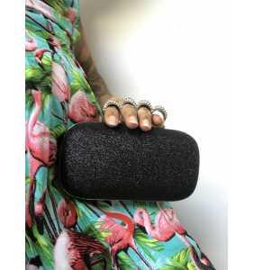 """Minaudière noire bagues poing américain """"Shiny pin-up bag"""""""