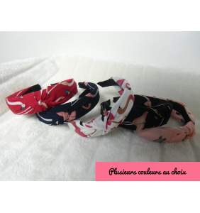 "Serre-tête turban en tissu à flamants roses ""Flamingos turban hairband"""
