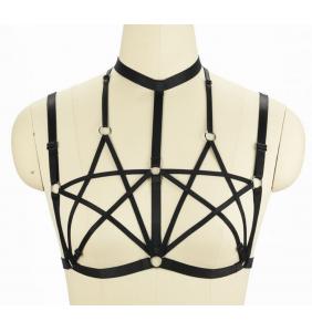"""Soutien-gorge harnais noir double pentagramme """"Gothic harness bra"""""""