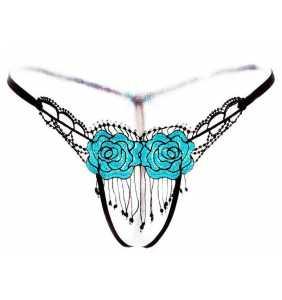 """String ouvert façon crochet à roses bleues """"Blue roses thong"""""""