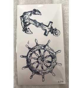 """Petite planche de tatouages temporaires ancre et barre """"Sailor in my soul"""""""