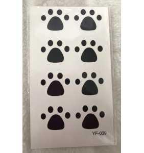 """Petite planche de tatouages temporaires pattes de chat """"Kitty paws"""""""