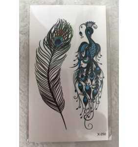 """Petite planche de tatouages temporaires plume et paon """"Peacock tattoo"""""""