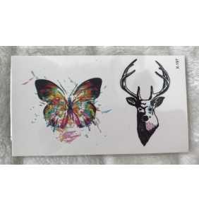 """Petite planche de tatouages temporaires tête de cerf et papillon """"Nature"""""""